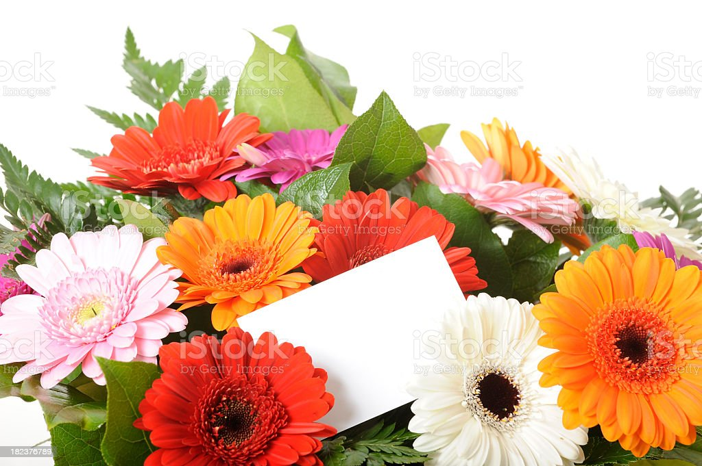Bunch of flowers with white empty card royalty-free stock photo