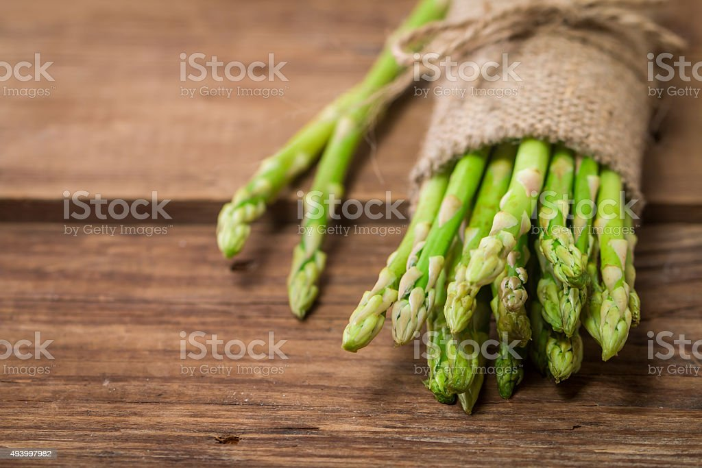 bunch of fresh asparagus stems stock photo