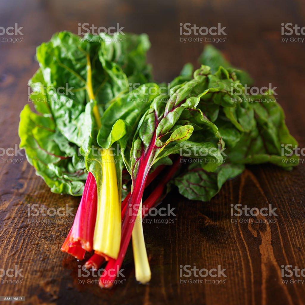 bunch of fresh rainbow chard stock photo