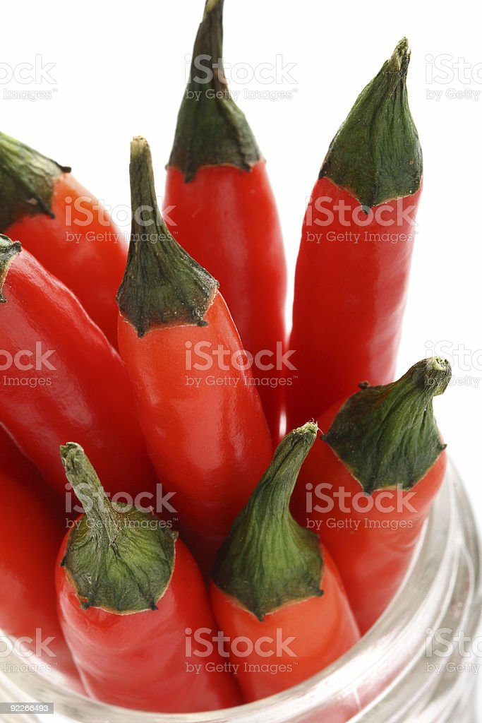 bunch of fresh red hot chilli chilies pepper super macro royalty-free stock photo