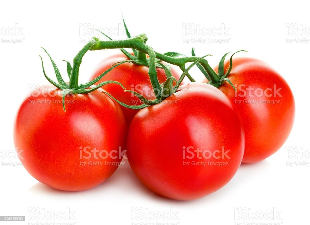 Bunch of fresh red tomatoes isolated on white background. stock photo
