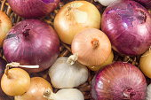 Bunch of garlic and onions