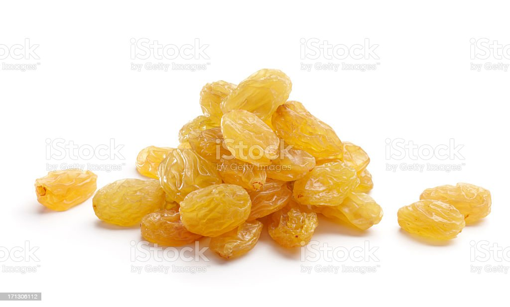 Bunch of golden yellow raisins isolated on white background stock photo