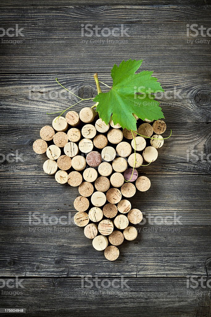 Bunch of grapes shape made with corks royalty-free stock photo