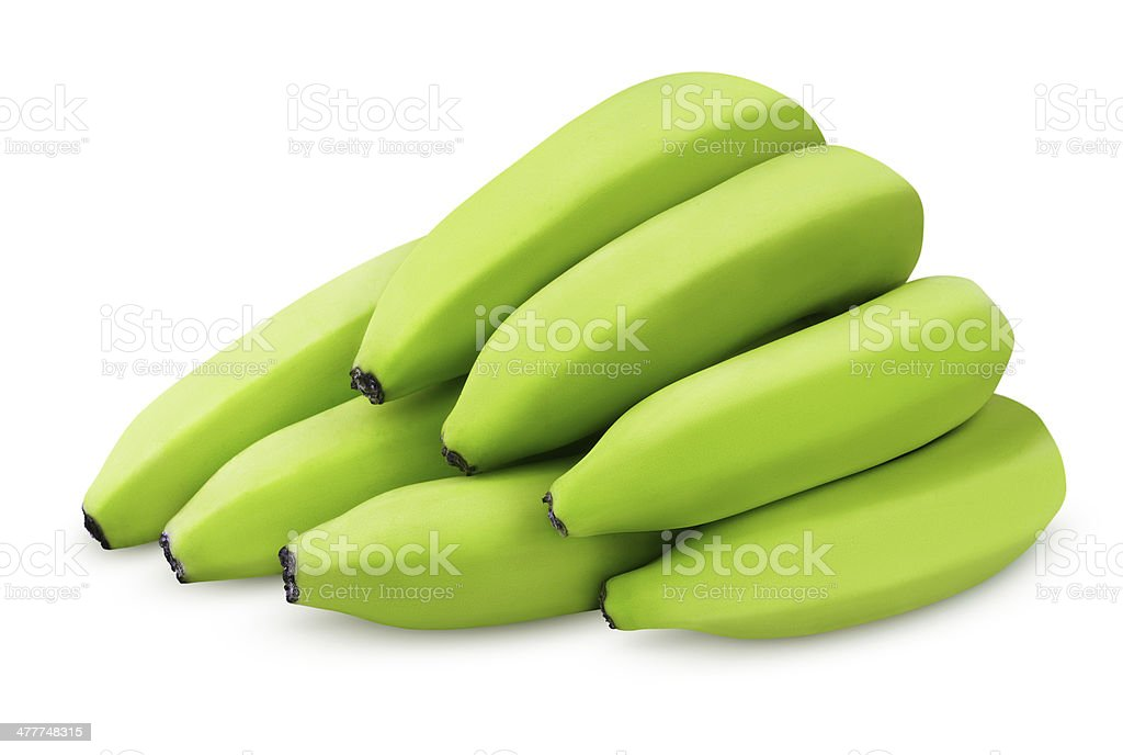 Bunch of green bananas isolated on white stock photo