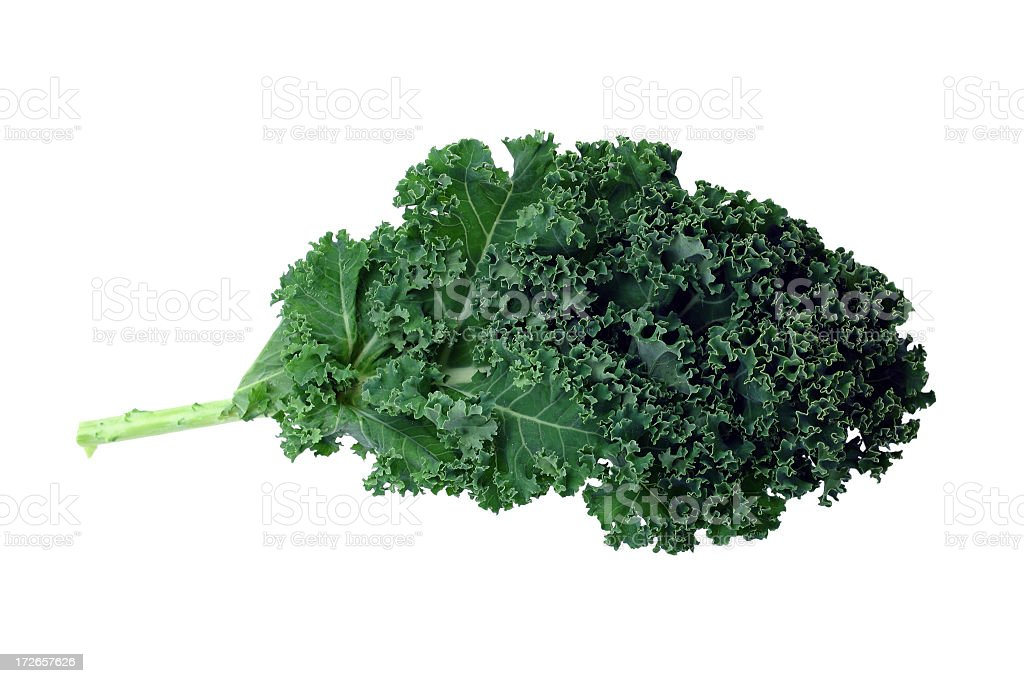 A bunch of green kale on a white background stock photo