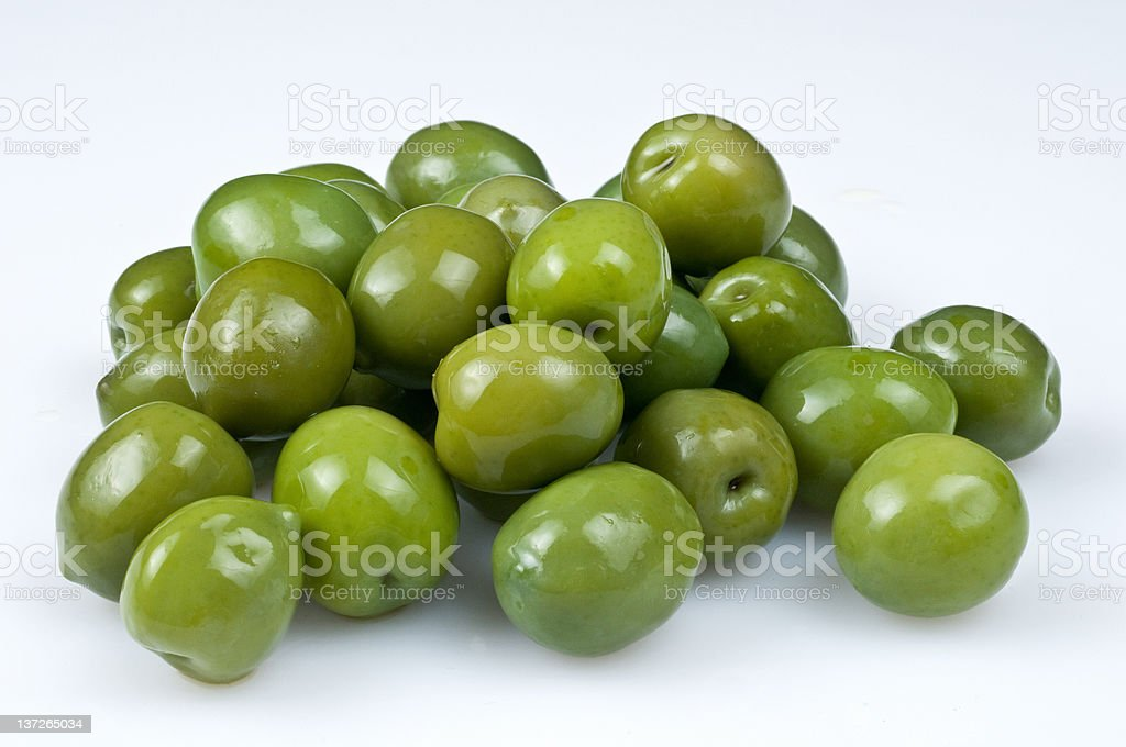 Bunch of green olives stock photo