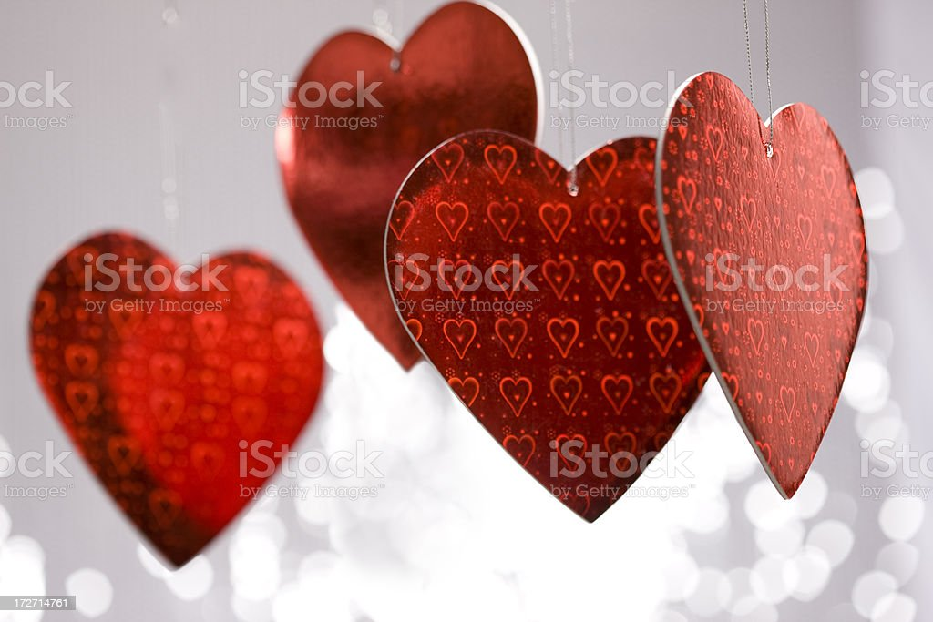 Bunch of Hanging Red Heart Shapes for Valentines, Copy Space royalty-free stock photo