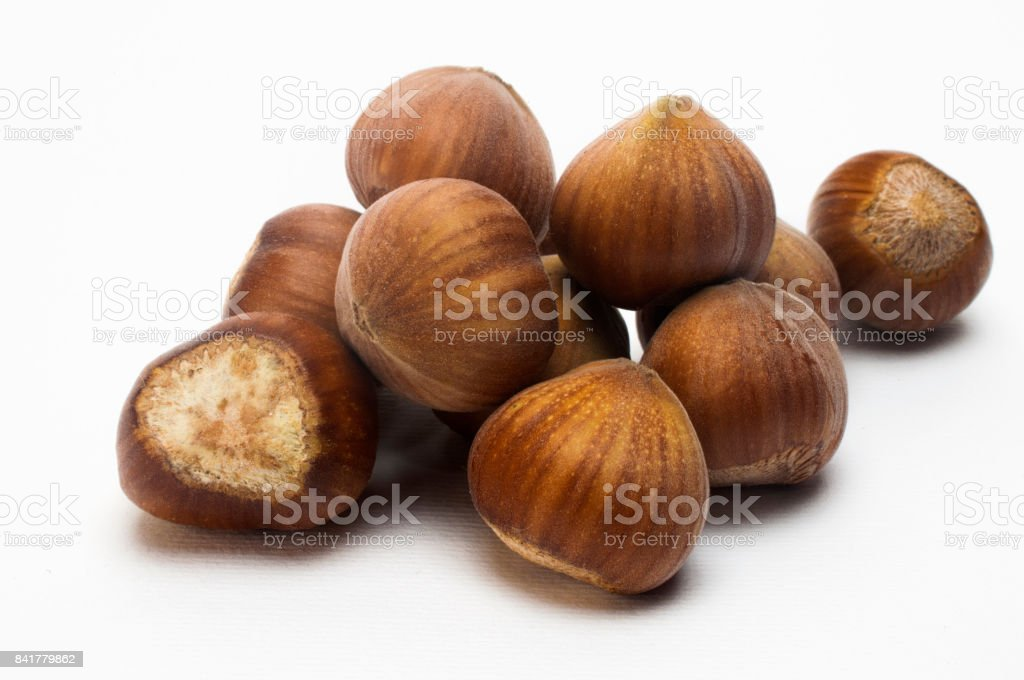 Bunch of hazelnuts stock photo