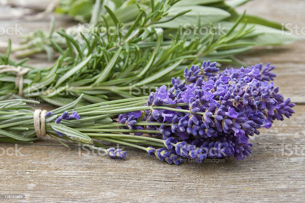 Bunch of herbs lying next to some lilacs stock photo