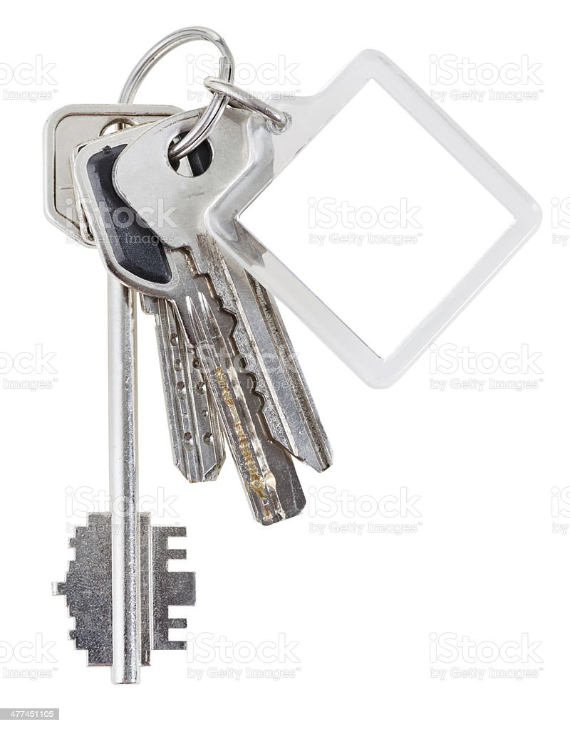 bunch of house keys on ring and keychain stock photo