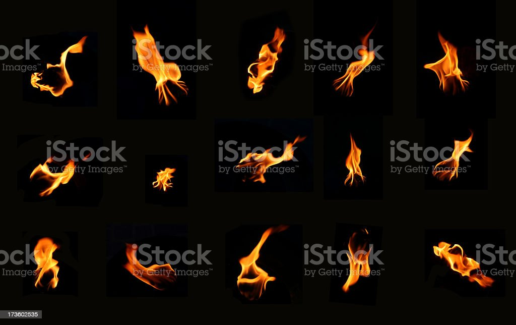 A bunch of icons of fire on a black background stock photo