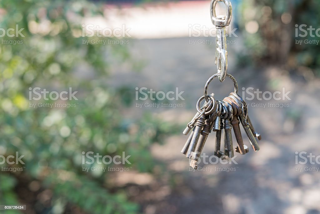 Bunch of keys at a chain with carbine, path stock photo