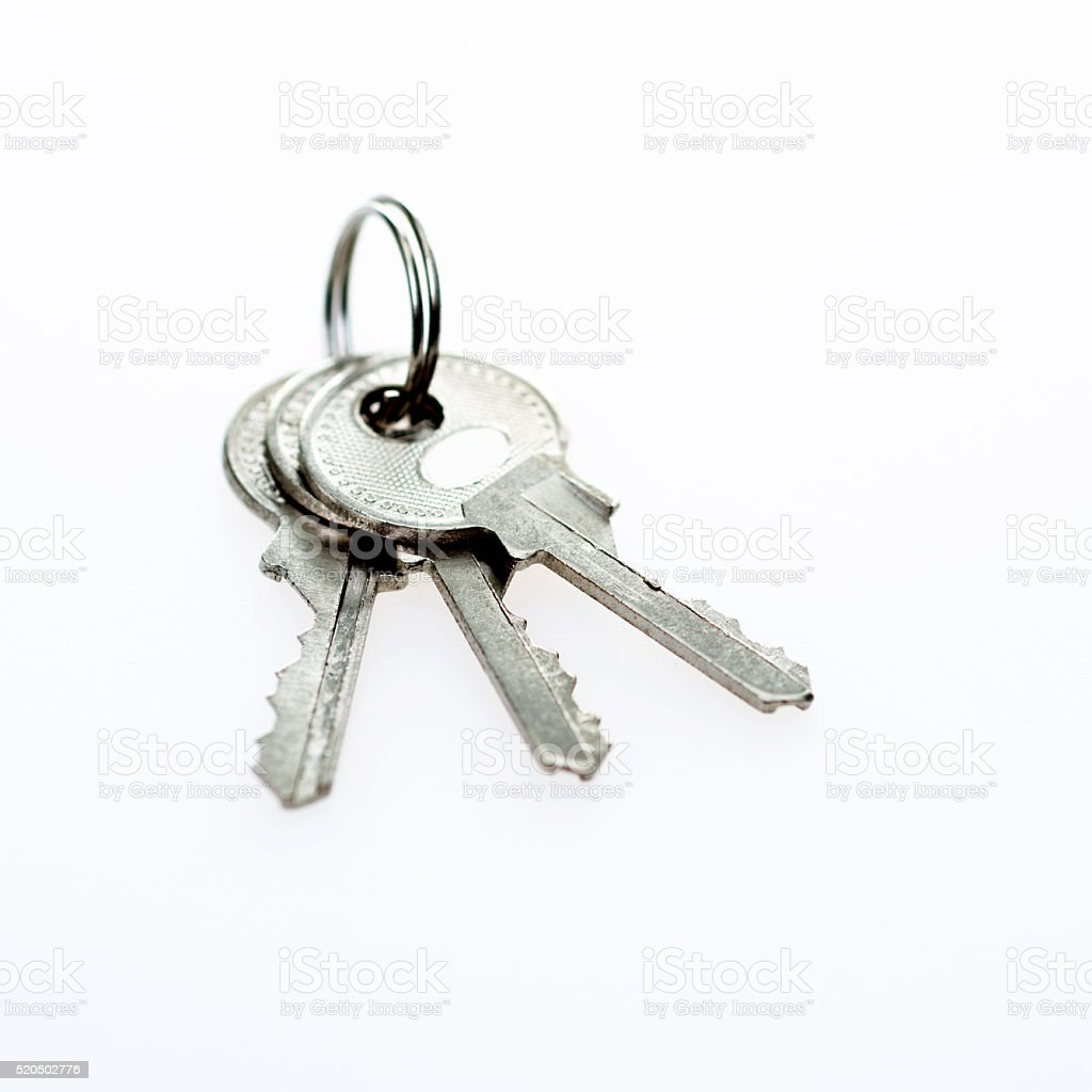 Bunch of keys isolated on white stock photo