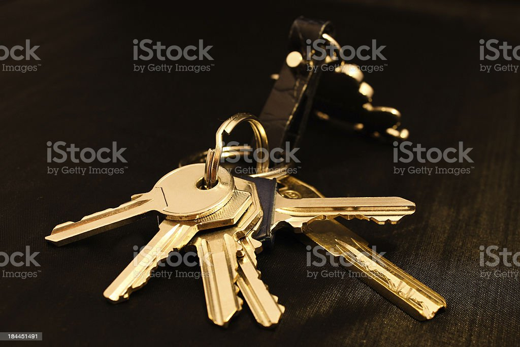 Bunch of keys on a black background royalty-free stock photo
