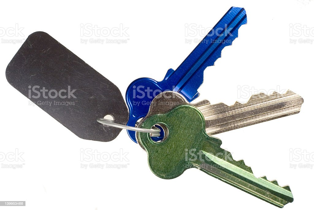 Bunch of keys on ring stock photo
