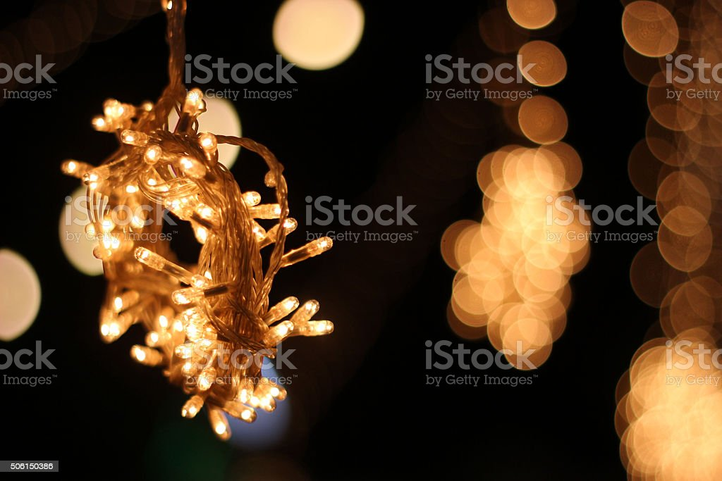 Bunch of lights in a wedding stock photo