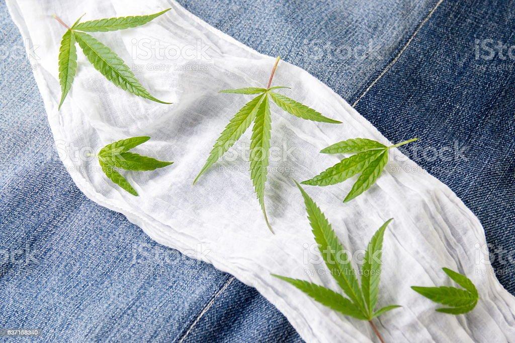 Bunch of marijuana plants on white fabric stock photo