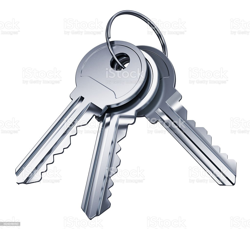 Bunch of metal keys isolated on white background stock photo