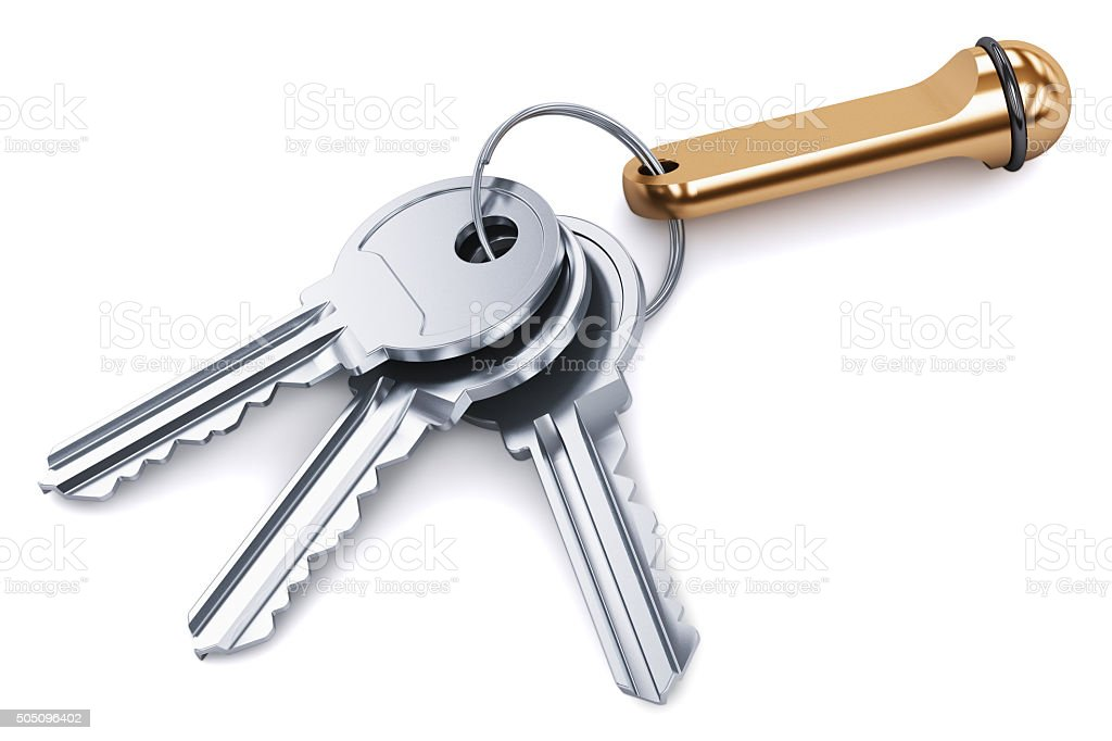Bunch of metal keys with keychain isolated on white background stock photo