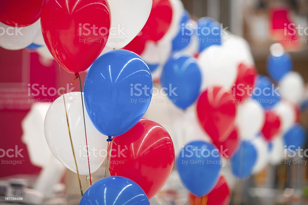 bunch of multi-colored balloons stock photo