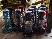bunch of multiple color lantern on the wooden floor