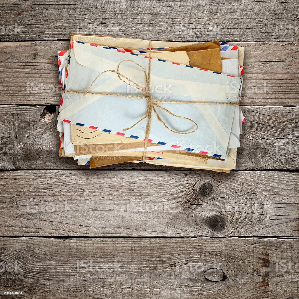 Bunch of old envelopes stock photo