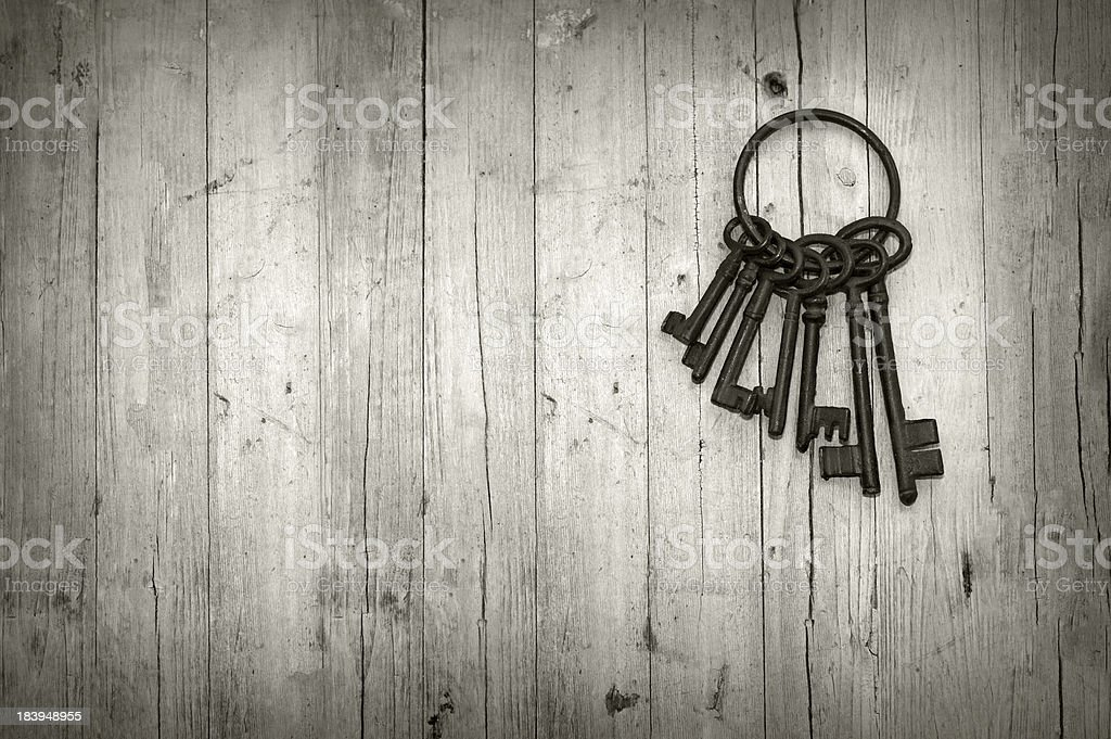 Bunch of old skeleton keys on a ring stock photo