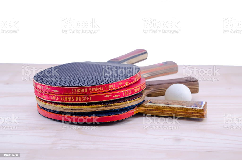 Bunch of old table tennis rackets royalty-free stock photo