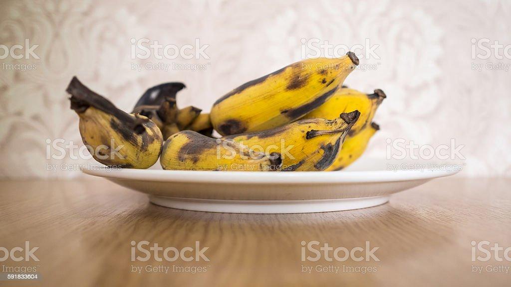 Bunch of overripe banana. stock photo