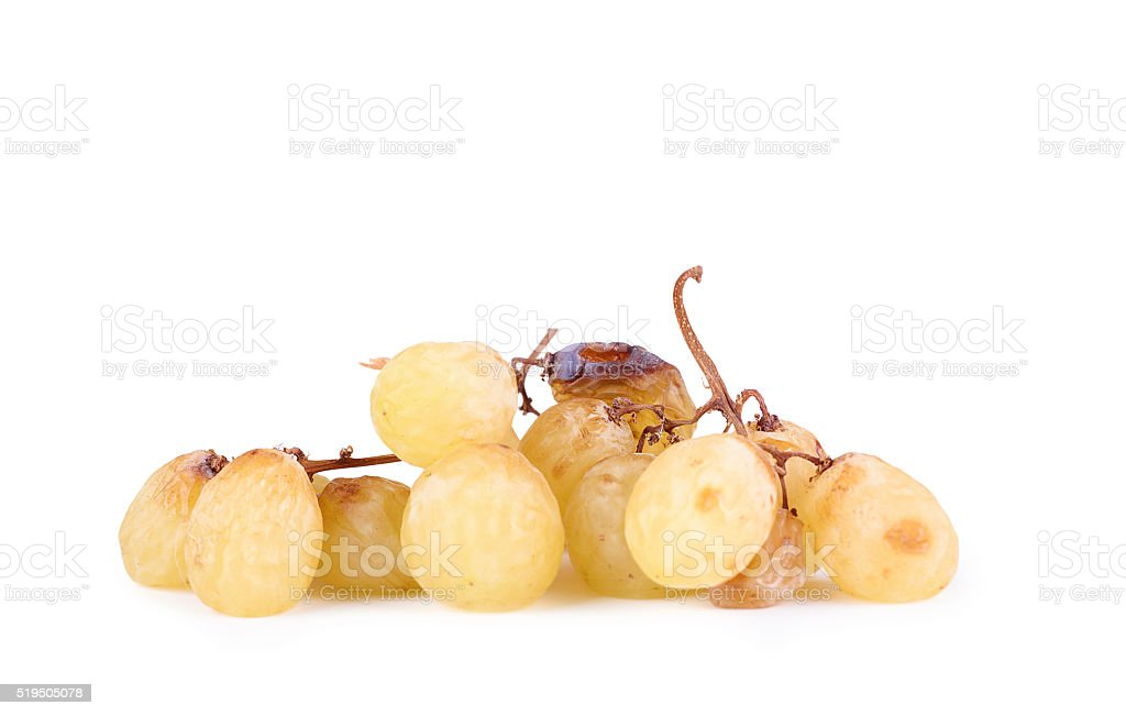 Bunch of overripe grapes isolated on white stock photo