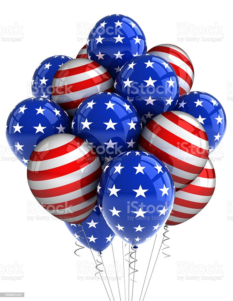 A bunch of patriotic American balloons stock photo