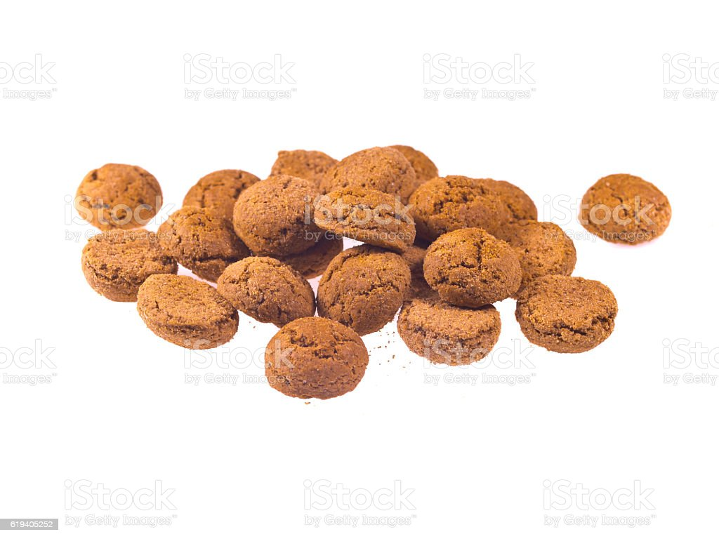 Bunch of Pepernoten cookies seen from above stock photo