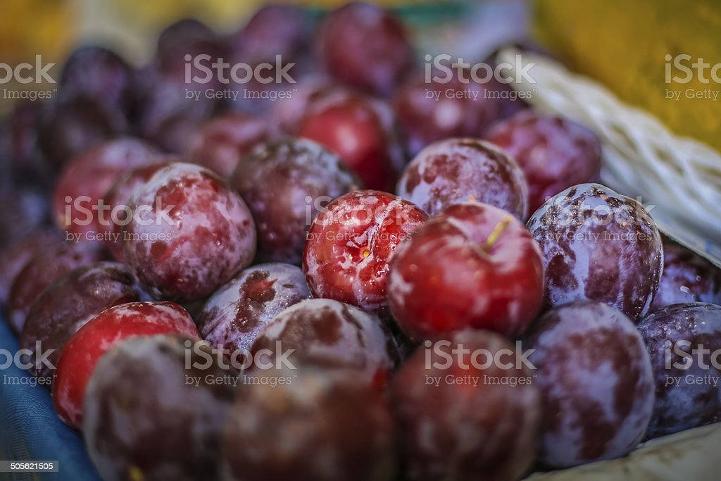 Bunch of Plums at a farmer's market royalty-free stock photo