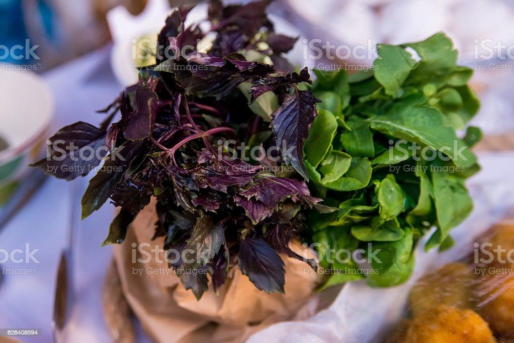 Bunch of purple basil stock photo