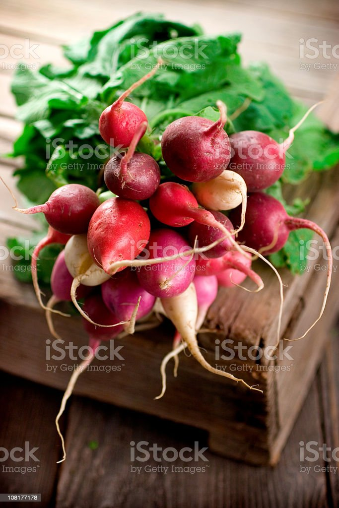 Bunch of radish on a an old wooden board stock photo
