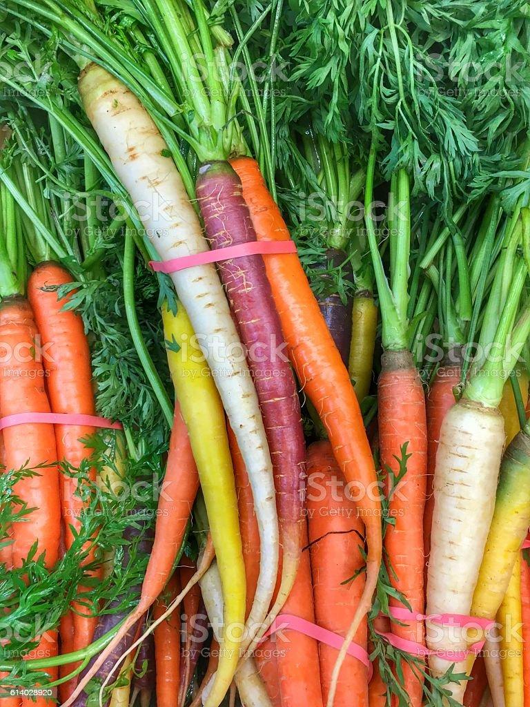 Bunch of rainbow carrots stock photo