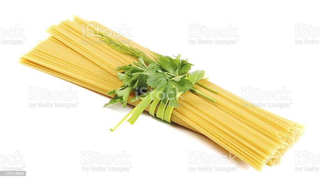 Bunch of raw apaghetti stock photo