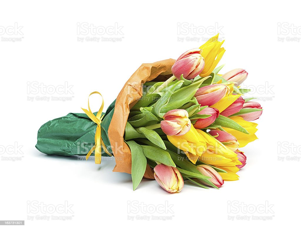 Bunch of Red and Yellow Tulips stock photo