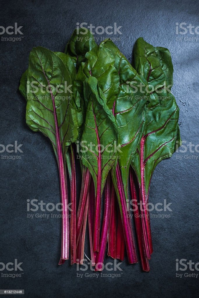 Bunch of red chard stock photo