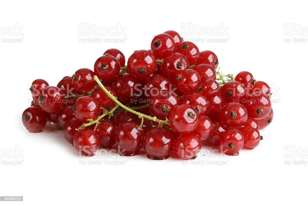 Bunch of red currants on white background stock photo