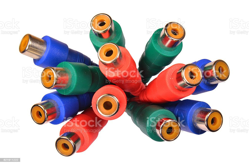 Bunch of red green blue audio video RCA connectors stock photo