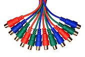 Bunch of red green blue audio video RCA connectors