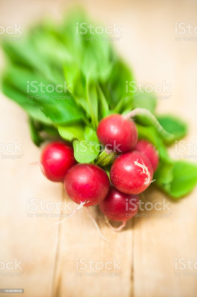 bunch of red radish on wood table royalty-free stock photo