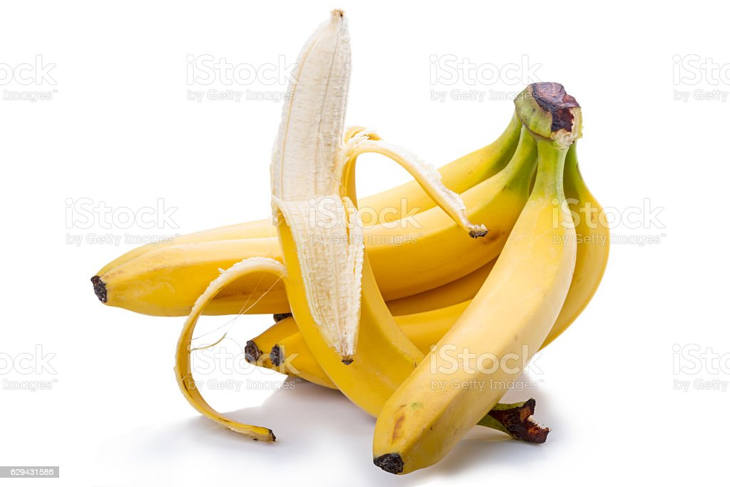 Bunch of ripe bananas on white stock photo