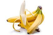Bunch of ripe bananas on white