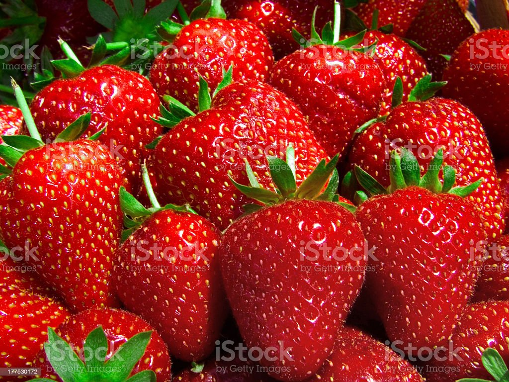Bunch of ripe, red strawberries  royalty-free stock photo