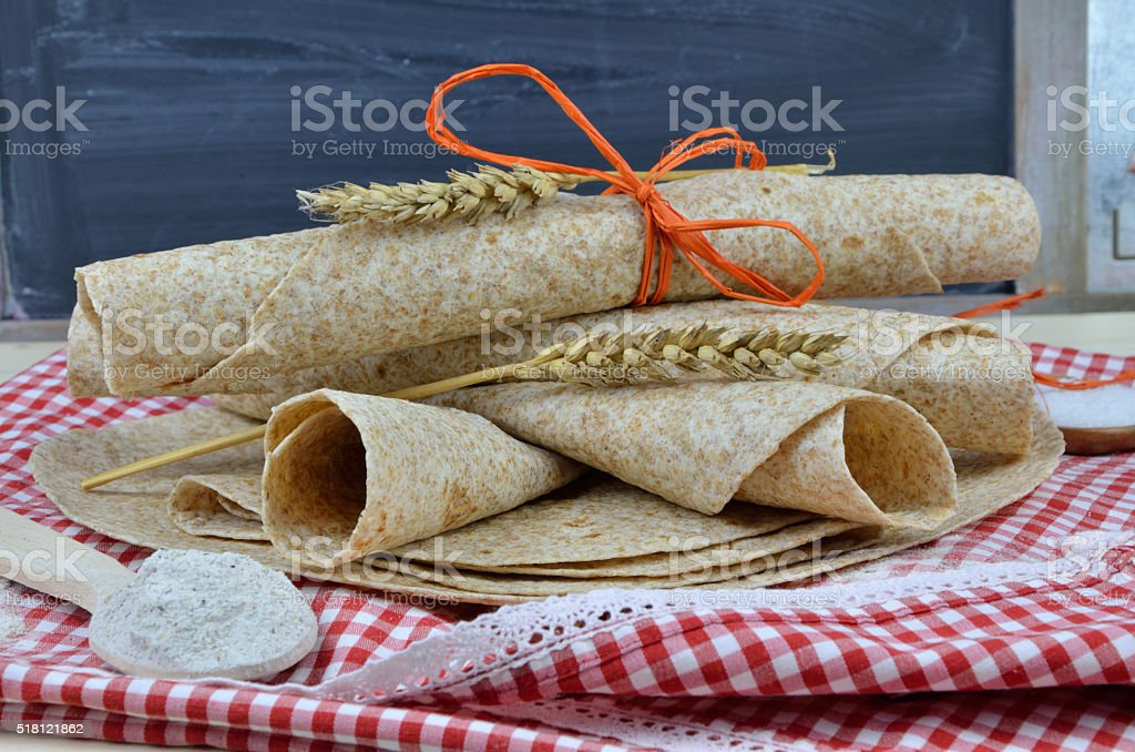 Bunch of Rolled Tortillas stock photo