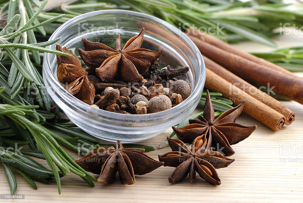 Bunch of rosemary and spice royalty-free stock photo