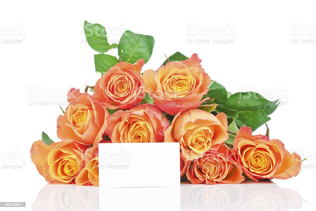 Bunch of roses with a greeting card royalty-free stock photo